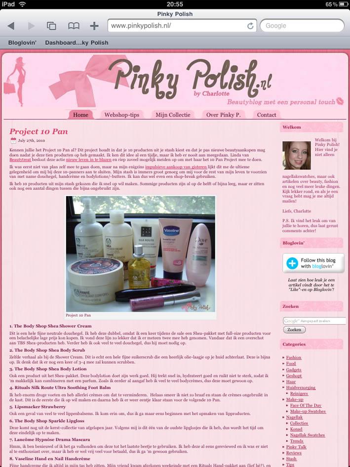 Pinky Polish op de iPad