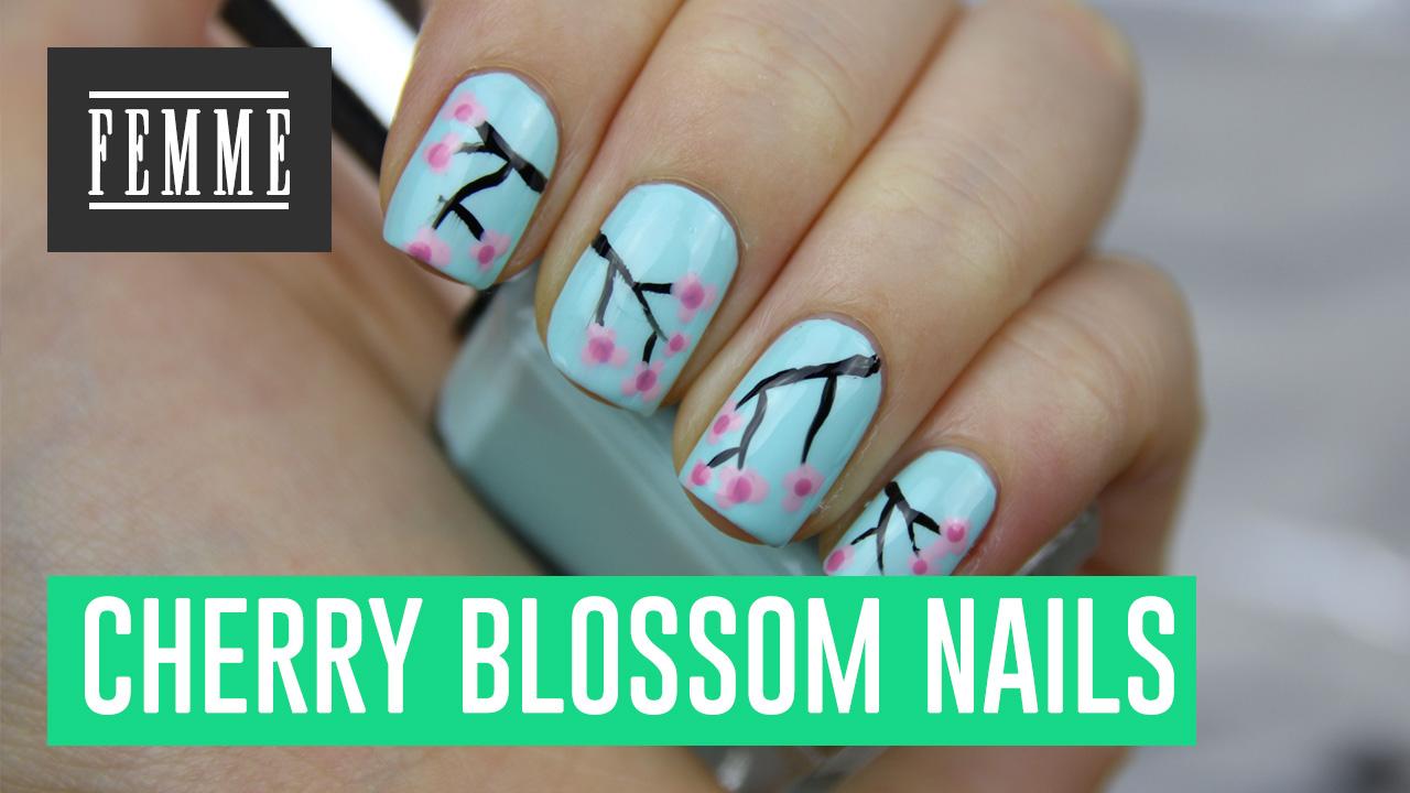 Video Cherry Blossom Nail Art Femme Pinky Polish Beautyblog